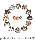 Circular frame design of various cats Card design 36312428