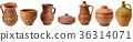 Set of old ceramic kitchen tools.  Wide photo 36314071