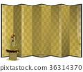 금 병풍과 황금 소나무 장식 (자소) 자르기 36314370