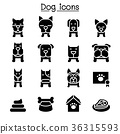 Dog icon set 36315593