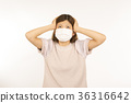 遭受花粉症的年輕日本婦女 36316642