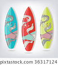 Set of surfboards with fish 36317124