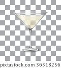 Transparent vector glass with Martini and olive 36318256