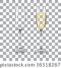 full and empty glass of champagne 36318267
