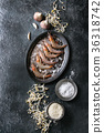 Raw uncooked prawns shrimps 36318742