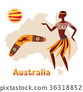 Illustration of Australia map with woman 36318852