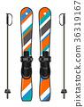 ski equipment with ski board and ski poles 36319167