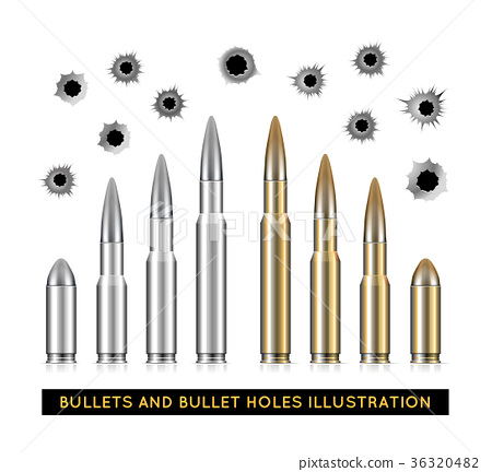Bullets and bullet holes. Vector illustration 36320482