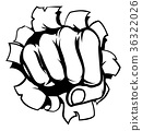 Punching Fist Through Background 36322026