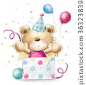 Cute Teddy bear with the colorful balloons. 36323839