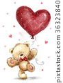 Cute bear with big red heart. Love design. 36323840
