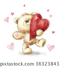 Teddy bear with the big red heart. Love design. 36323843