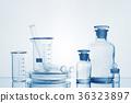 Various medicine bottles with transtarent liquid 36323897