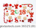 Christmas background made of red toys 36325181