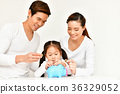 Parents are teaching children to save money. 36329052