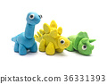 Play dough dinosaur on white background 36331393