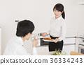 couple, breakfast, work 36334243