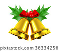 Christmas bell with holly isolated  36334256