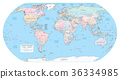 Highly detailed political World map. EPS 10 vector 36334985