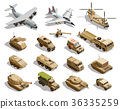 Military Transport Isometric Icons Set  36335259