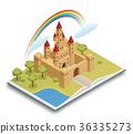 Fairy Tale Castle Isometric Composition  36335273