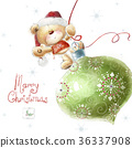Cute teddy bear with the big Christmas tree toy  36337908