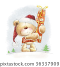 Teddy bear with the big red gift in the Santa hat 36337909