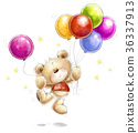 Teddy bear with the colorful balloons and stars.  36337913