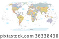 Highly detailed political World map. EPS 10 vector 36338438