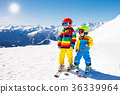 Ski and snow winter fun for kids. Children skiing. 36339964