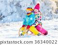 Kids play in snow. Winter sleigh ride for children 36340022