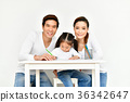 Familys are drawing activities in the home. 36342647