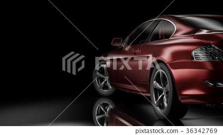 Dark car silhouette 3D illustration 36342769