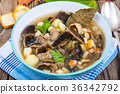 Delicious homemade soup with mushrooms and 36342792