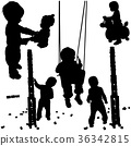 Playing Children Silhouettes 36342815