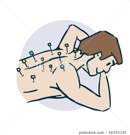 guy sticks needles acupuncture stiker 36343195
