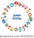 Summer greeting card Japanese summer material Circular frame card design 36348193