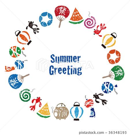 여름 안부 일본의 여름 소재 원형 프레임 카드 디자인 36348193