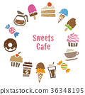 Coffee, sweets cafe material round frame card design 36348195
