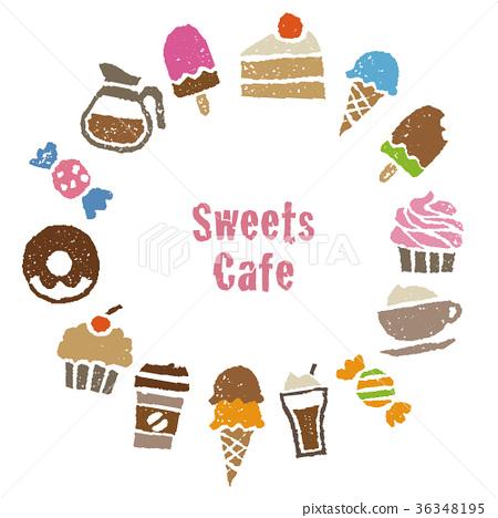 咖啡,糖果咖啡館材料圓框卡設計 36348195