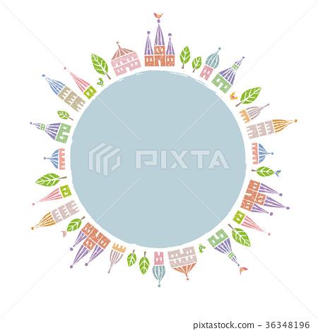 一個可愛的房子與三角形屋頂和樹木地球世界 36348196
