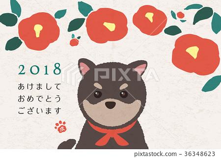 山茶花 日本山茶 新年贺卡 36348623