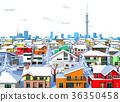 城镇冬季城镇景观东京透明后住宅区 36350458