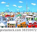 城市冬天镇晴朗的晴朗的东京住宅区 36350472