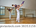beautiful couple dancing bachata in dance studio 36353156