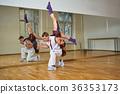 beautiful couple dancing bachata in dance studio 36353173