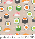 Sushi set seamless pattern. Rolls endless 36353205