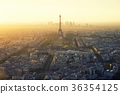 Eiffel tower at sunset in Paris, France. 36354125