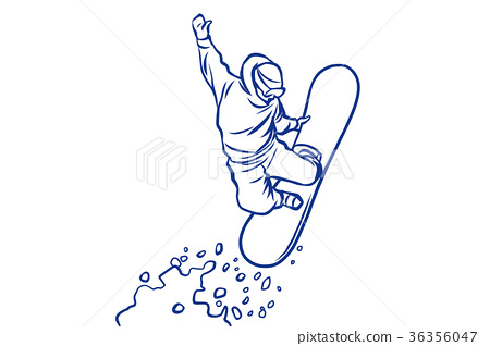 silhouette snowboarder jumping on a snowboard 36356047