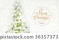Merry Christmas and happy new year wreath blur bg 36357373